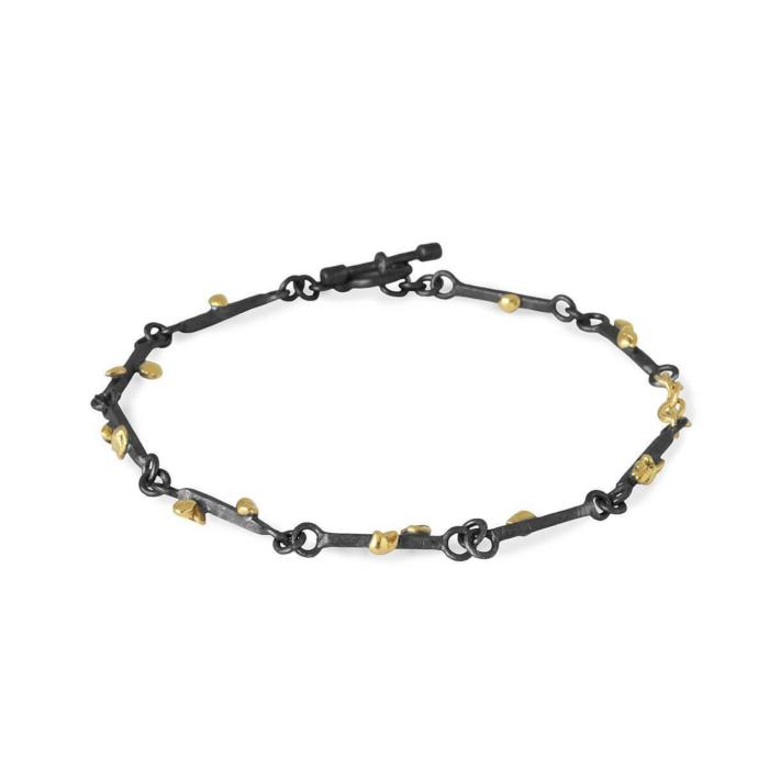 Black Patinated Silver & 18kt Raw Gold Grain Bracelet