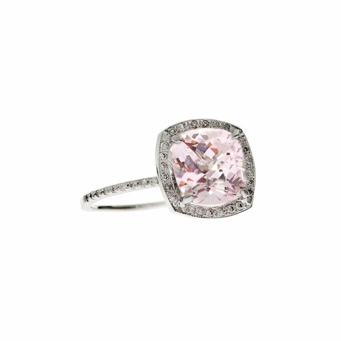 Cushion Morganite Ring Diamond Halo Engagement Ring