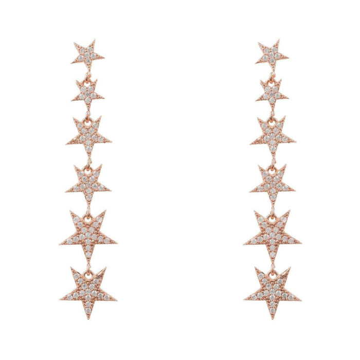 Rose Gold Plated Graduated Star Drop Earrings
