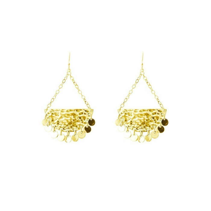 Gold Moon & Back Earrings Disc Earrings
