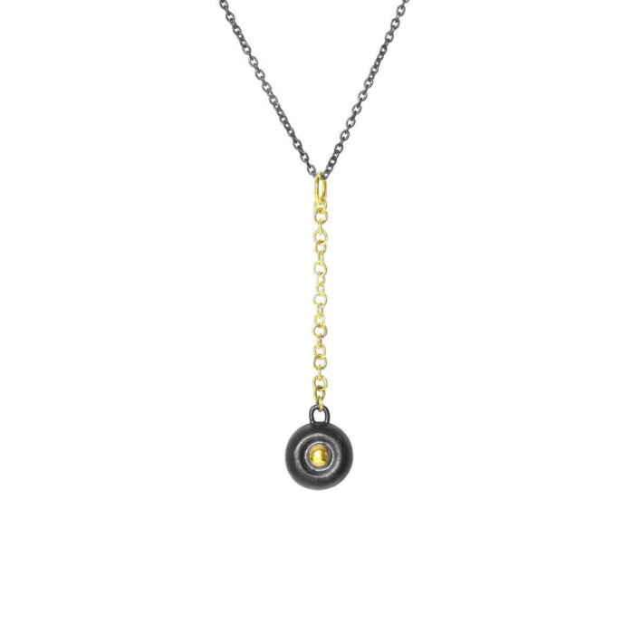 Black Patinated Silver Pendant With 18kt Gold Accent & Y Chain
