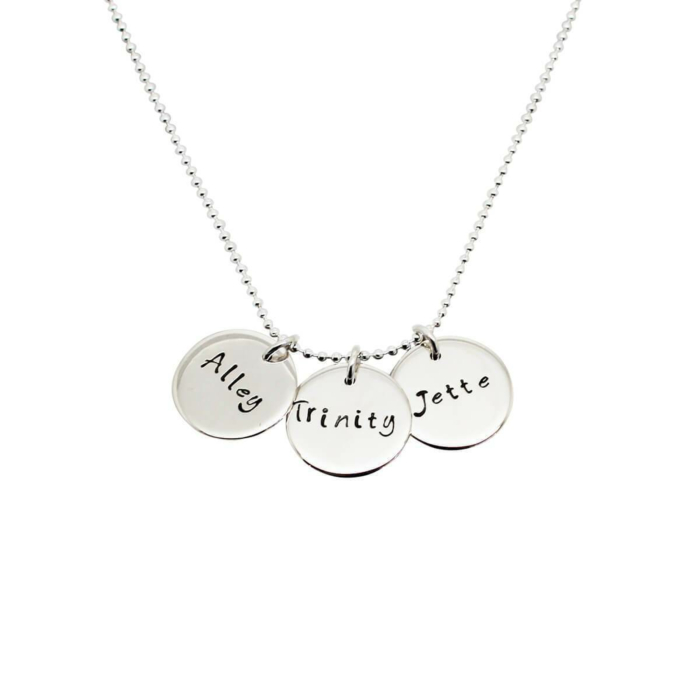 Personalised Triple Disc Sterling Silver Necklace