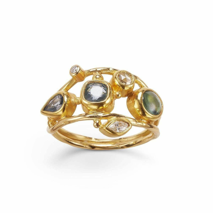 Gold & Diamond Double Seafire Ring | Bergsoe
