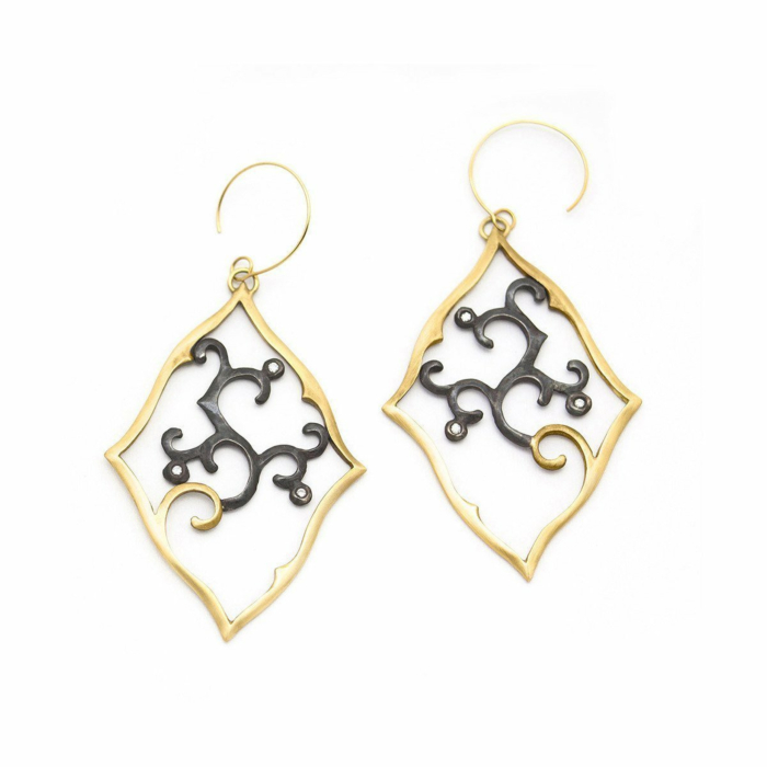 Gold, Oxidised Sterling Silver & Diamond Square Sprout Earrings | Ileava Jewelry