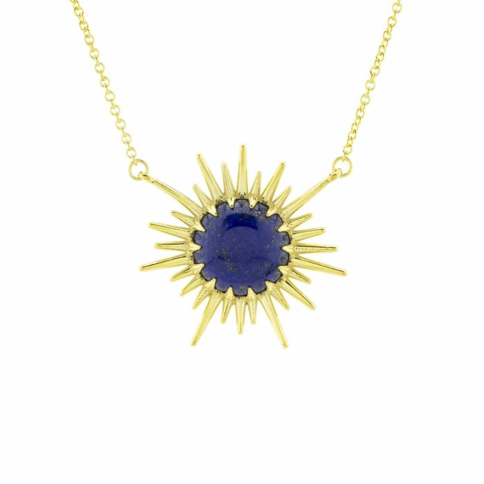 Vermeil Sunrays Lapis Lazuli Necklace
