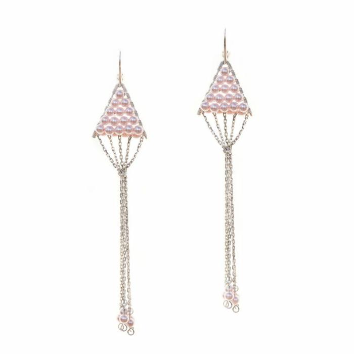 Sterling Silver Triangulum Rose Pearl Earrings