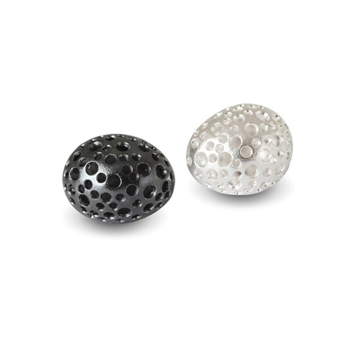 Patinated Black & Polished White Silver Studs