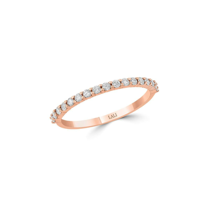 14kt Rose Gold Stackable Ring With 17 Diamonds