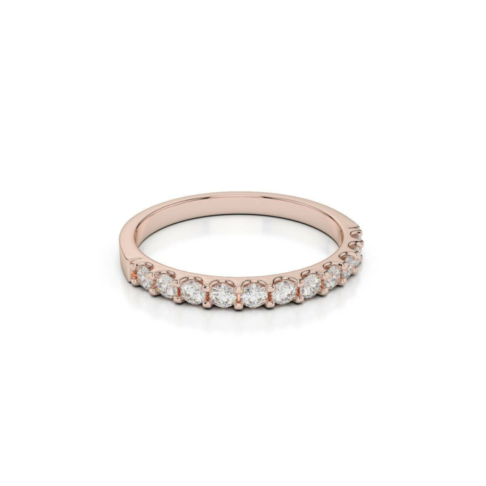 18kt Rose Gold Half Eternity Ring With Round-Cut, Claw-Set Diamonds