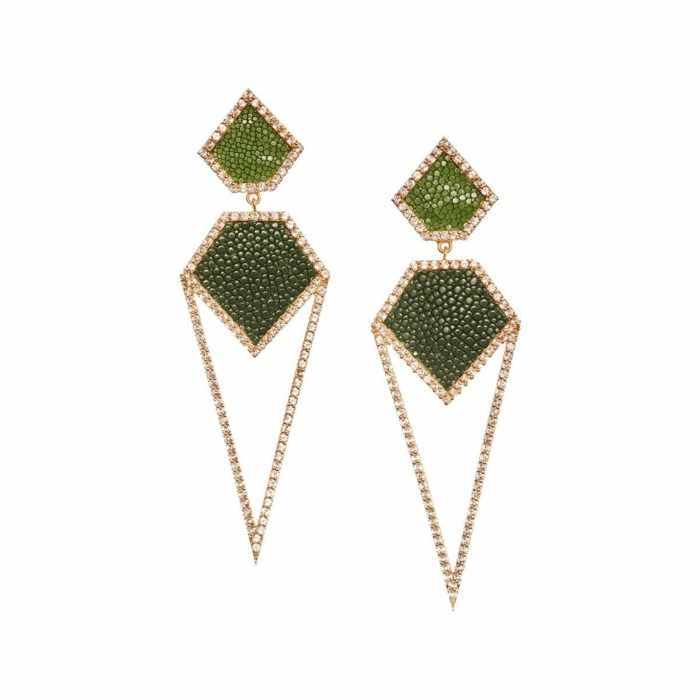 Cara Yellow Gold Plated Silver Earrings With Green Stingray Leather