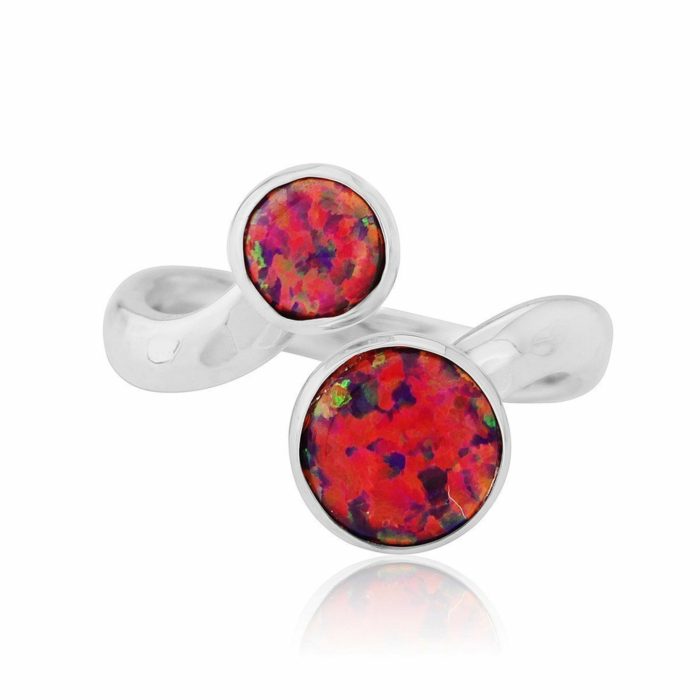 Sterling Silver & Red Opal Ring