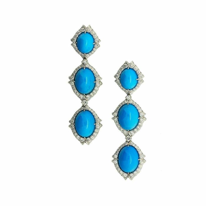 Sedona Turquoise And Diamond Earrings