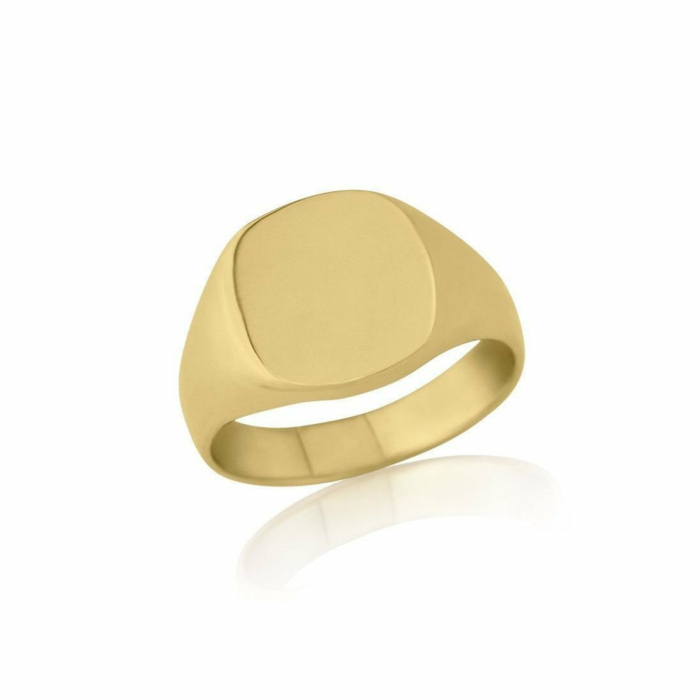 9kt Yellow Gold Cushion-Shaped Heavyweight Signet Wedding Ring