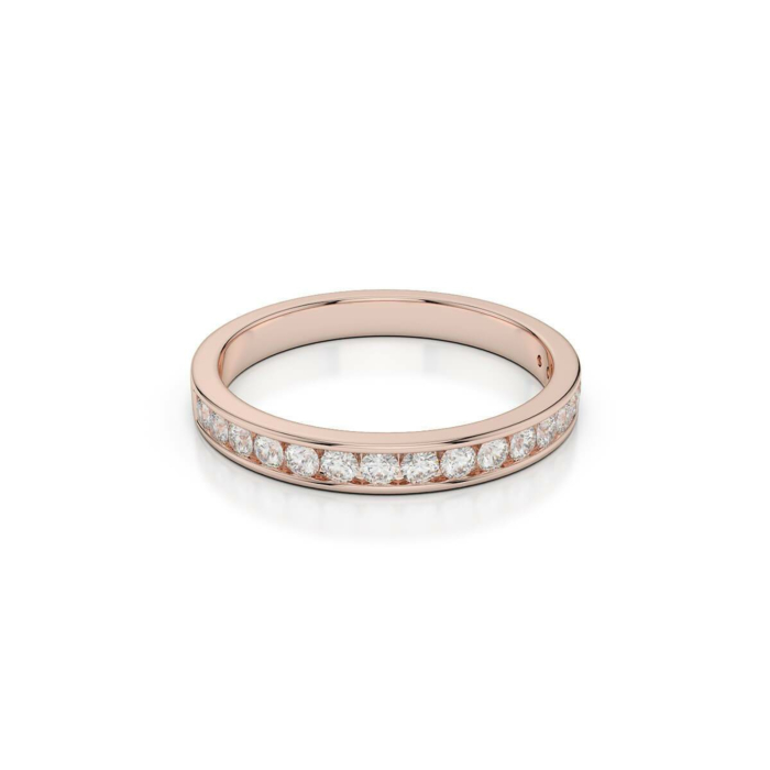 18kt Rose Gold Half Eternity Ring With Round-Cut, Channel-Set Diamonds II