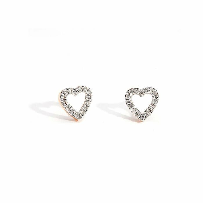 Rose Gold & Diamond Tiny Heart Stud Earrings | Kaizarin