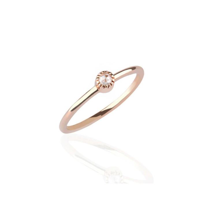 Bijou Diamond Ring Rose Gold Vermeil