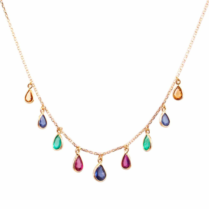 18kt Yellow Gold Emerald Ruby Sapphire Pear Dangle Necklace