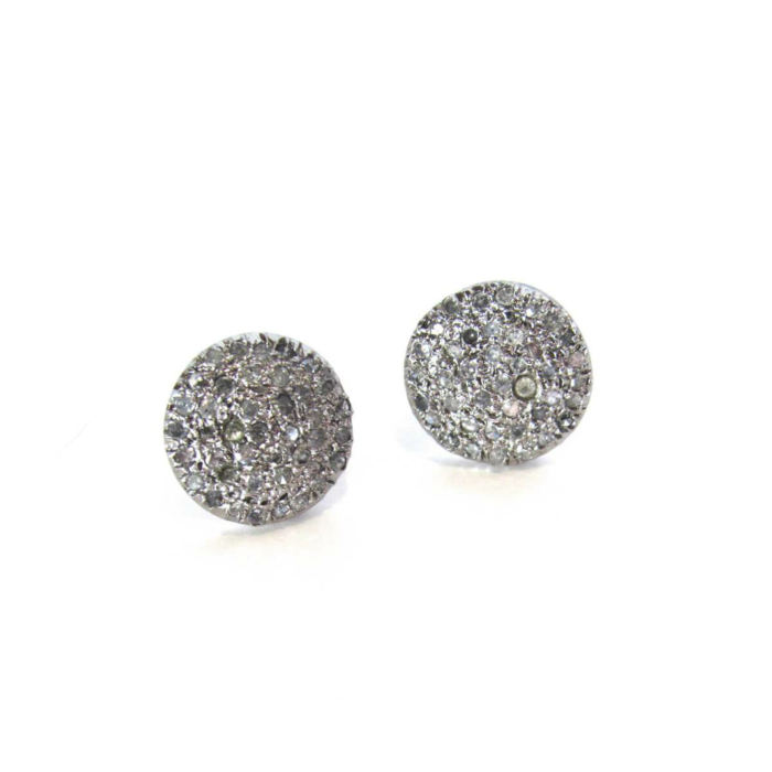 Sterling Silver Pave Diamond Studs