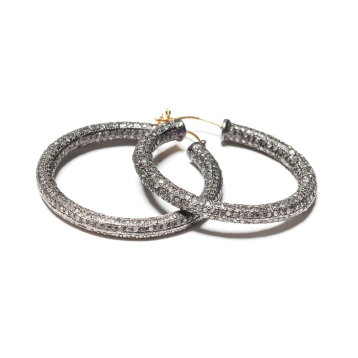 Rhodium Plated Pave Diamond Hoop Earrings