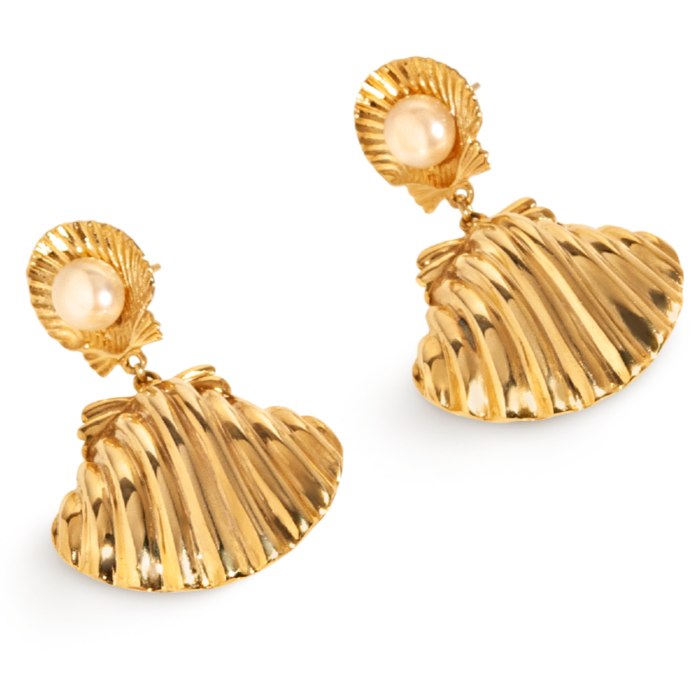 24kt Yellow Gold Plated Venus Pearl Earrings