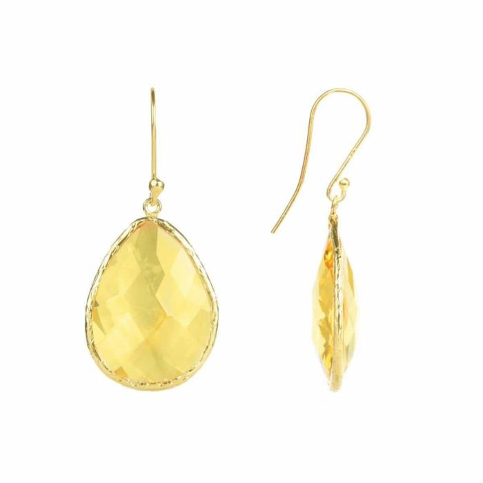 Gold Single Drop Earring Citrine Hydro