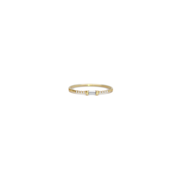 14kt Yellow Gold Diamond Baguette and Pave Diamond Ring