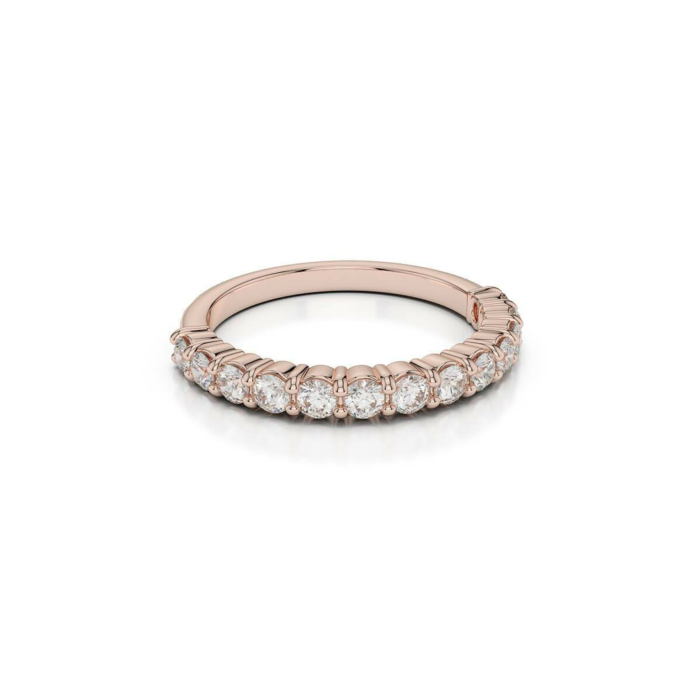 18kt Rose Gold Half Eternity Ring With Round-Cut, Claw-Set Diamonds IV