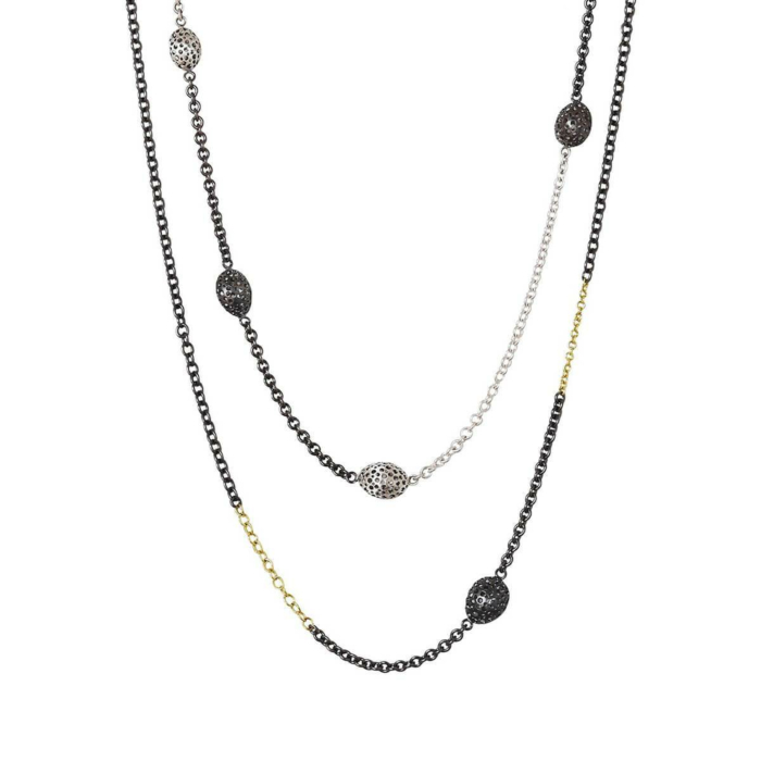 Matt-Black Patinated & Patinated Silver Long Necklace