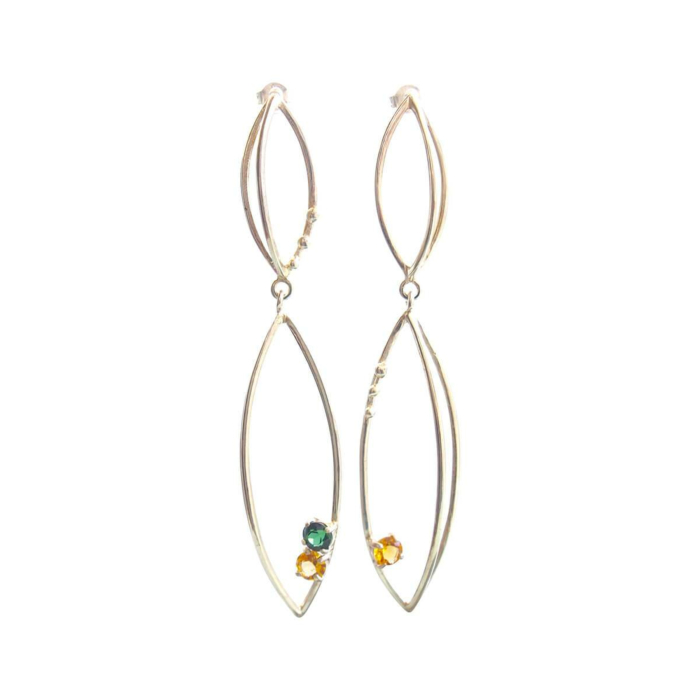 Sterling Silver 3D Earrings With Tourmaline & Citrine