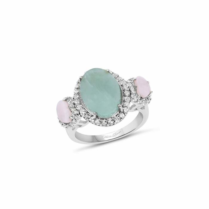 Rhodium Plated Silver Milky Aquamarine Ring