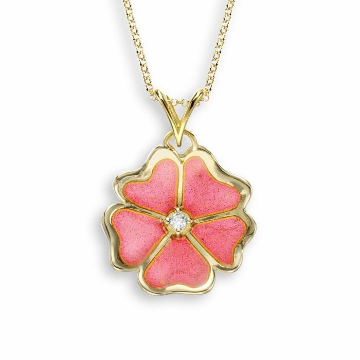 18kt Gold Flower Pink Necklace