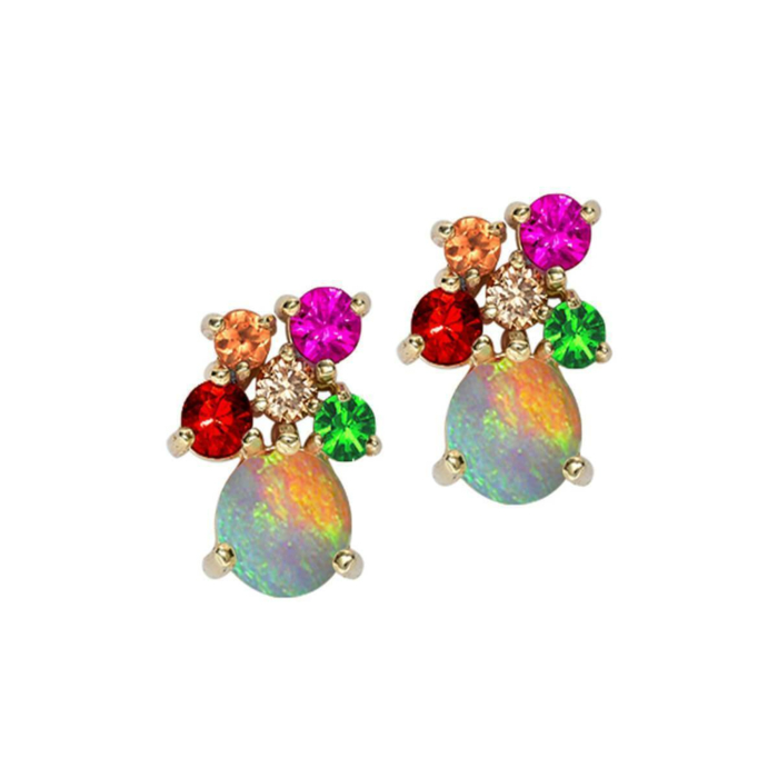 Yellow Gold Opal Multi-Gem Harlequin Earrings