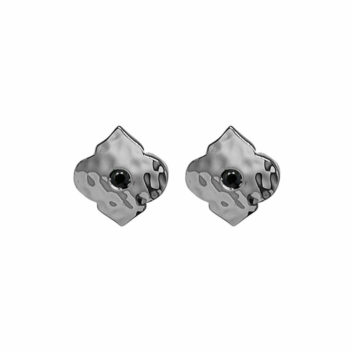 Sterling Silver & Black Spinel Moroccan Stud Earrings