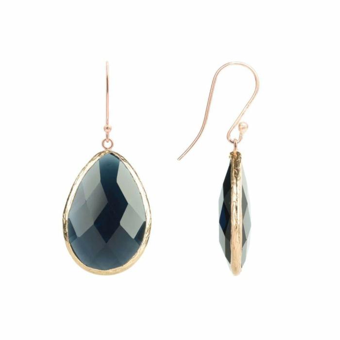 Rose Gold Single Drop Earring Sapphire Hydro