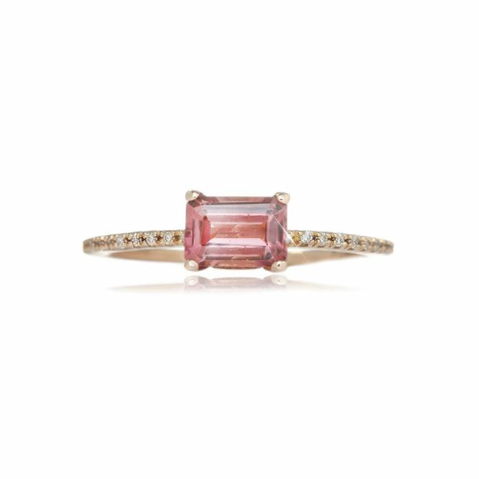 Emerald Cut Deep Pink Tourmaline Ring