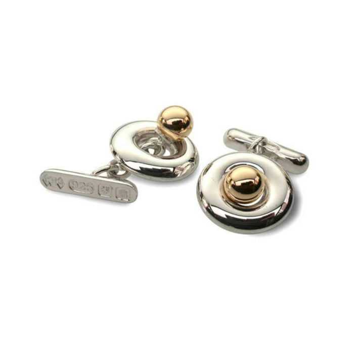 Silver & 9kt Yellow Gold Polo Cufflinks
