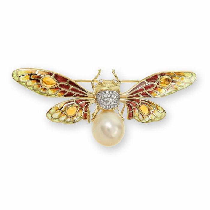 18kt Gold Bee Brooch