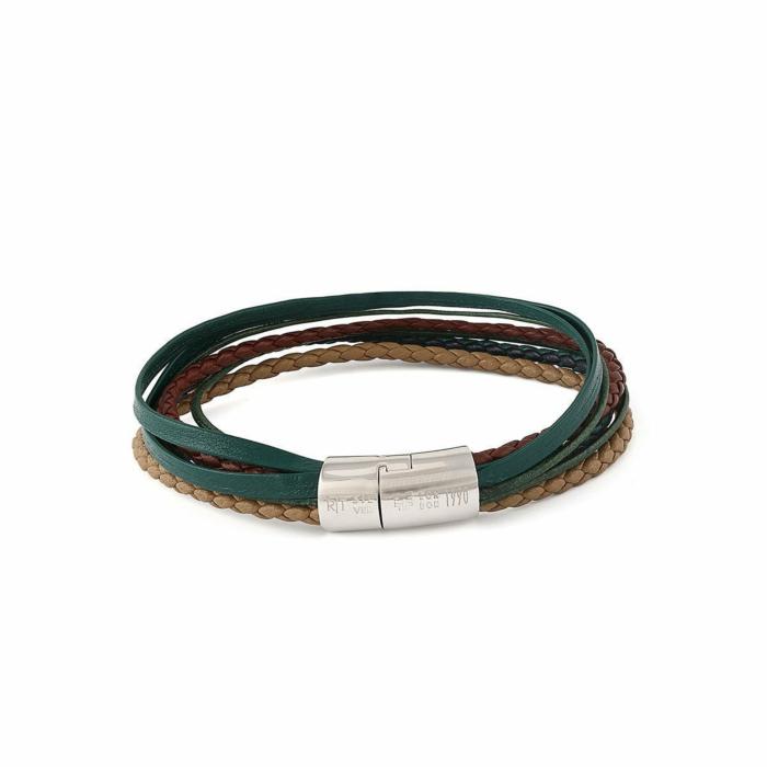 Silver & Green Leather Multi-Strand Cobra Bracelet