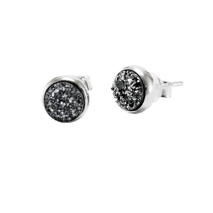 Sterling Silver & Black Druzy Quartz Stud Earrings