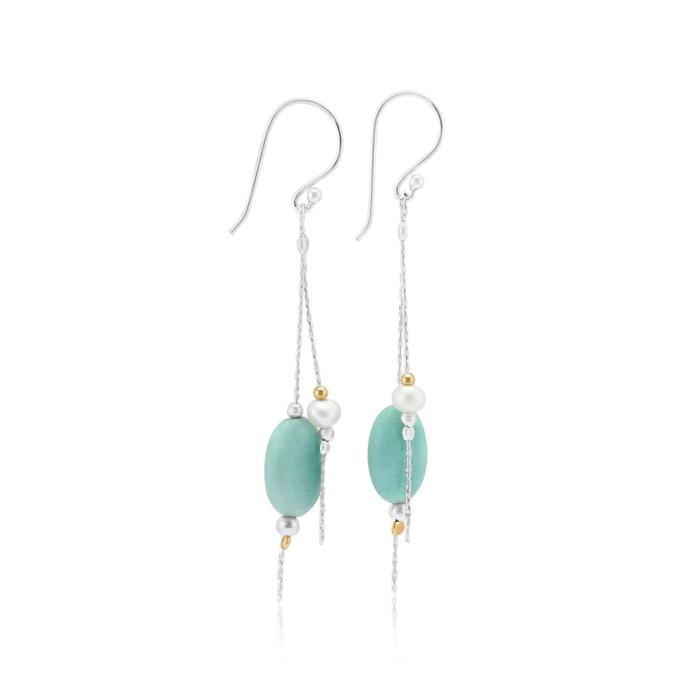 Aqua Chalcedony & White Pearl Long Multi-Strand Drop Earrings
