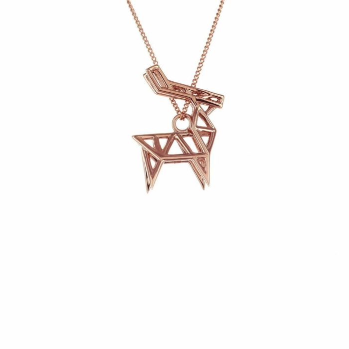 Sterling Silver & Pink Gold Frame Deer Origami Necklace