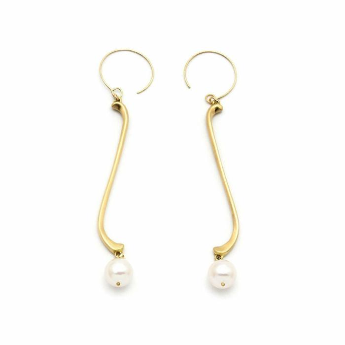 Gold & Pearl Arabesque Mousse Single Flute Drop Earrings | Ileava Jewelry