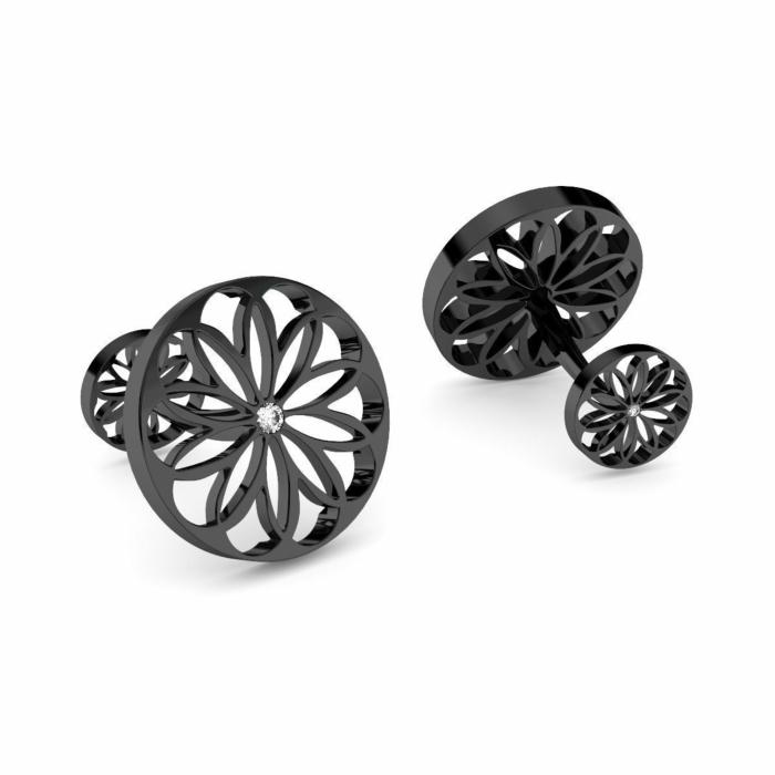 Black Rhodium Plated Silver & Diamond Cufflinks