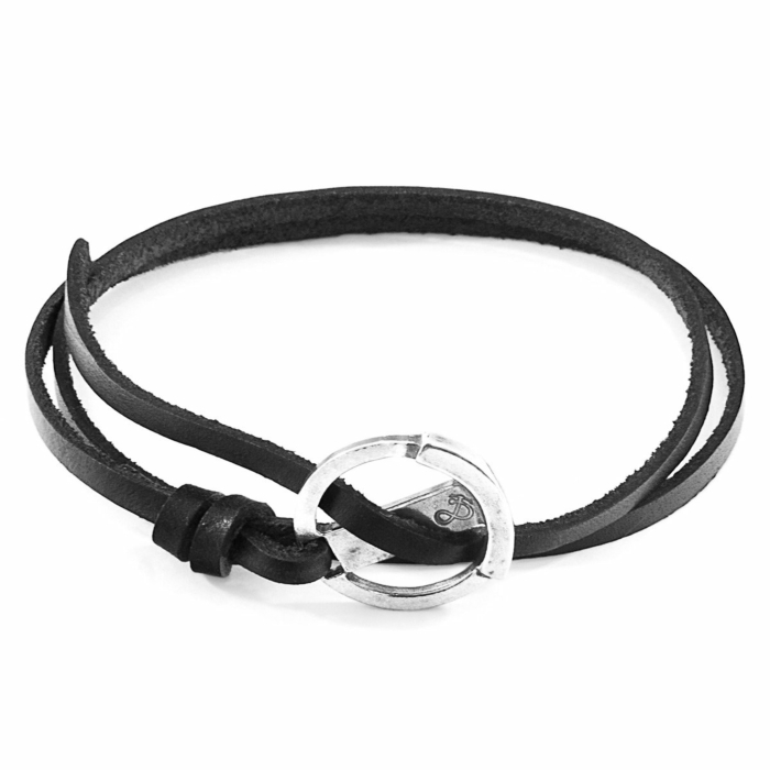 Coal Black Ketch Anchor Silver and Flat Leather Bracelet