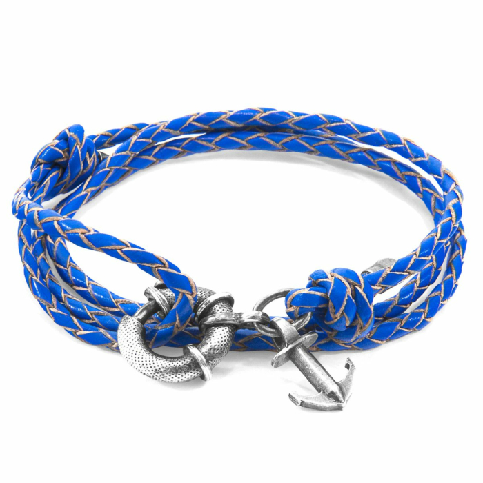 Royal Blue Clyde Anchor Silver and Braided Leather Bracelet