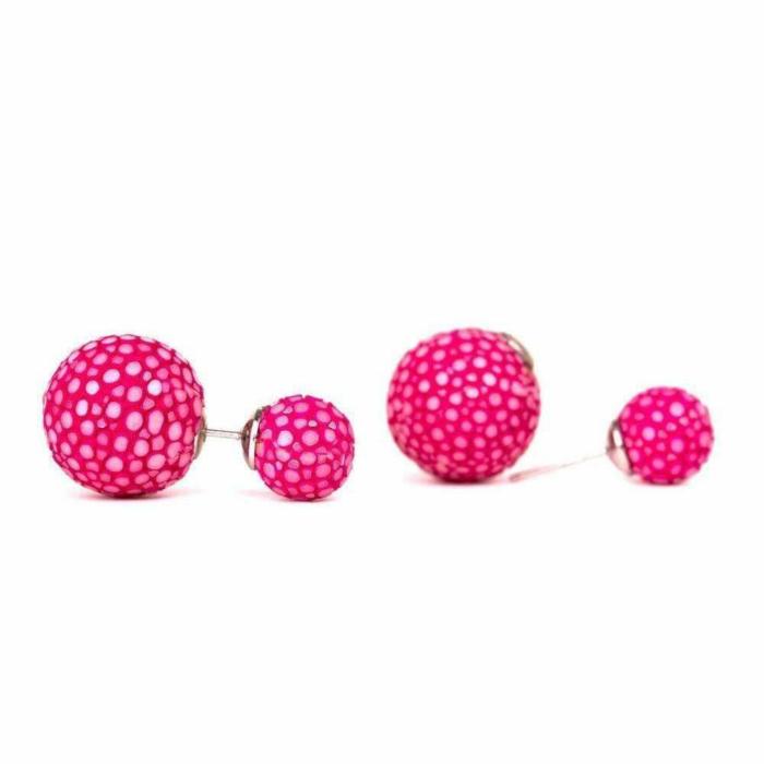 Beth Fuchsia Stingray Leather Earrings