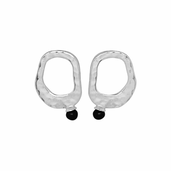 Sterling Silver & Black Pearl Riveria Stud Earrings