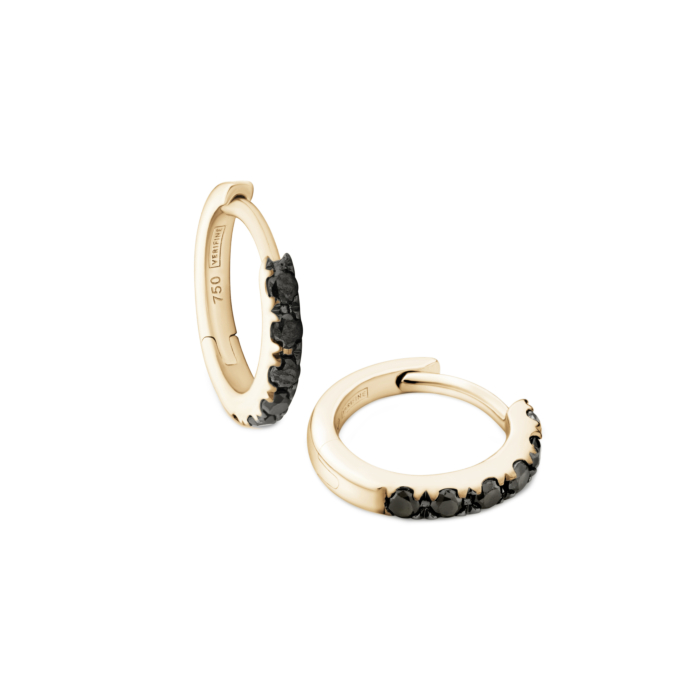 Black Diamond Huggie Earrings in 18kt Yellow Gold