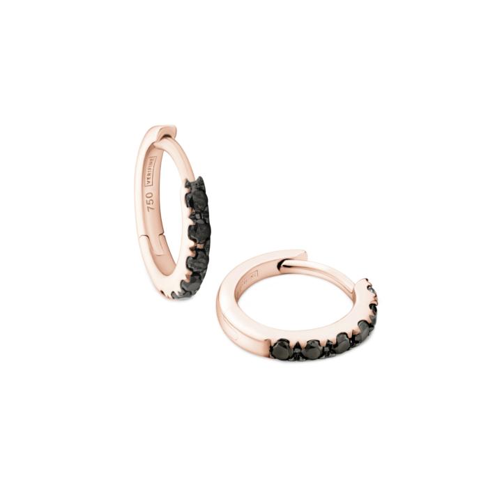 Black Diamond Huggie Earrings in 18kt Rose Gold