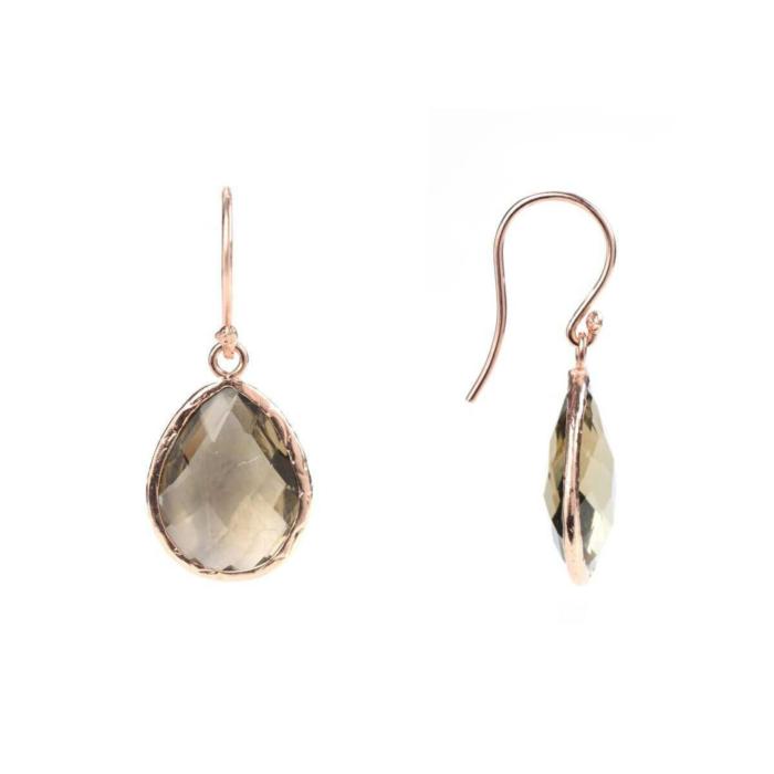 Rose Gold Petite Drop Earring Smoky Quartz